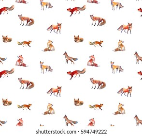 fox watercolor pattern painting on paper