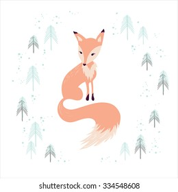 Fox in winter pine forest isolated on white. Hand drawn design for Christmas and New Year greeting cards, fabric, wrapping paper, invitation, stationery.