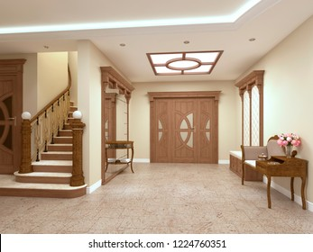 Foyer in a luxury house in a classic style with a staircase. 3D rendering