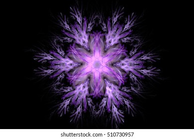 Fractal abstract floral round pattern with petals in lilac colors
