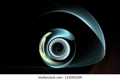 Fractal abstraction. Abstract form - circles and strokes. Eye, lens, eyepiece. Science, business technology black background