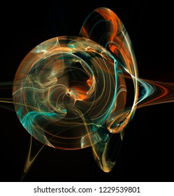 Fractal abstraction. Flame and Plasma Effects. A glowing round figure, a symbol of energy, tension, power, black background