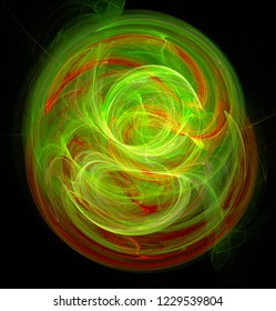 Fractal abstraction. A glowing center around which spirals and waves. Green and red, black background