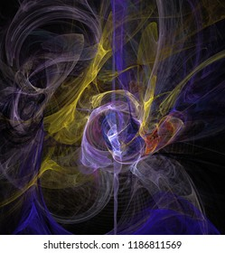 Fractal abstraction. A glowing spiral figure, purple and yellow, a symbol of energy, tension, power, black background