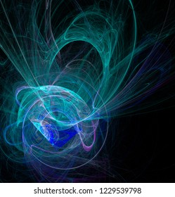 Fractal abstraction. A glowing spiral figure, Emerald and blue, a symbol of energy, tension, power, black background
