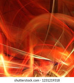 Fractal abstraction. Red glowing blur abstraction, black background