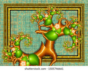 Fractal artwork: stylized tree branches in front of a golden frame with a textile patterned background in green