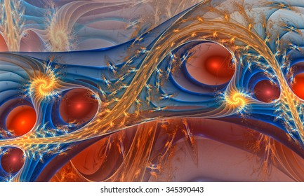 Fractal background with abstract spiral curves. High detailed.