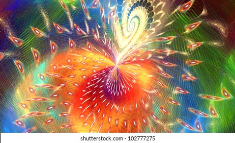 Fractal. Conceptual background with motion. Swirled light
