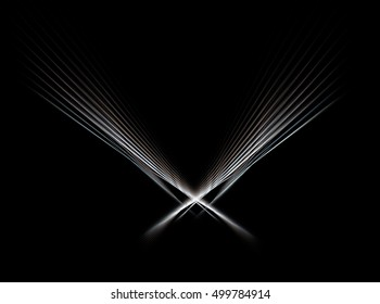 Fractal decorative illustration of  the angle frame stand for your subject or text on black background