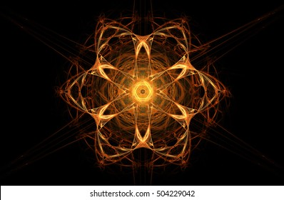 Fractal decorative illustration of  bright glowing fiery orange flower on black background