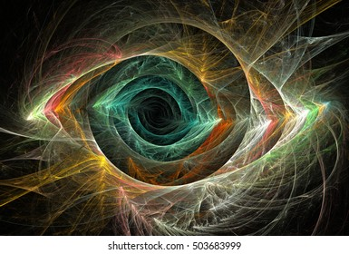 Fractal decorative illustration of colorful beautiful unearthly eye on black background