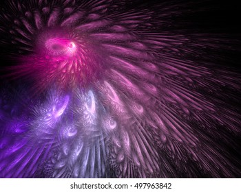 Fractal decorative illustration of  the pattern of feathers in pink colors on black background