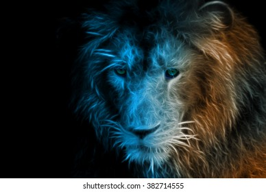 Fractal design of a lion in a zoo
