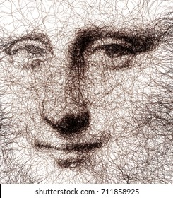 Fractal Drawn Mona Lisa Stylized Portrait - Generative Art