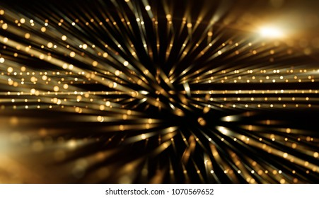 Fractal explosion star with gloss and lines. Lights gold background with rays. Flash light. Illustration beautiful.