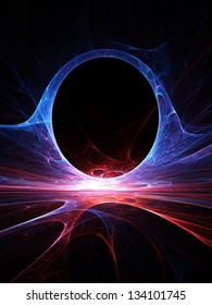 Fractal Horizons - Abstract curving arch composed of luminescent red and blue energies