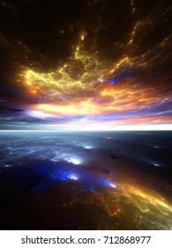Fractal Horizons: Fiery geometric sunrise over an alien ocean