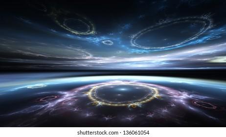 Fractal Horizons - Surreal blue sea and sky (16:9 aspect)