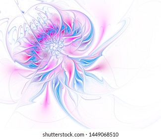 Fractal illustration of bright background with floral ornament. Creative element for design. Fractal flower rendered by math algorithm. Digital artwork for creative graphic design