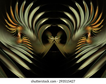 fractal illustration a butterfly and spiral golden glow