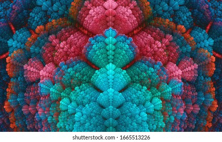 Fractal repetition of colorful seashell like texture