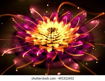 Fractal Shining Lotus  -  Fractal Art - 3D image
