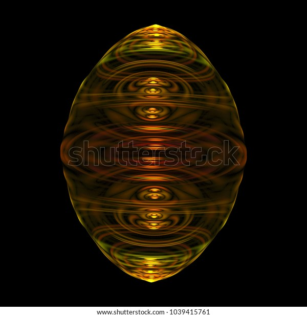 Fractal that is oval in shape and has the appearance of a golden fluid glowing inside an glass orb