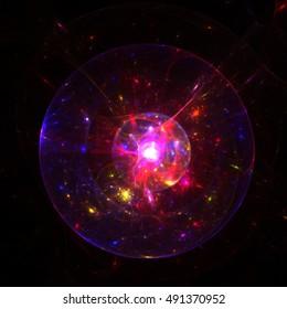 Fractal  Transparent Shining  Sphere Background - Ball lightning, Fireball - Fractal Art