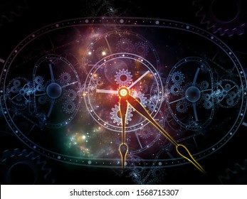 Fractals of Time. Faces of Time series. Interplay of clock dials and abstract elements related to science, education and modern technologies
