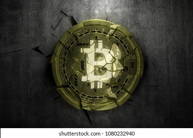 fractured bitcoin on dark background,3d render