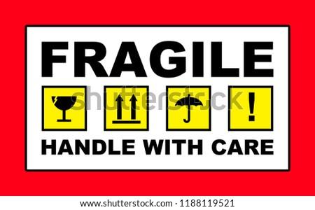 fragile handle care sign placard sticker stock illustration