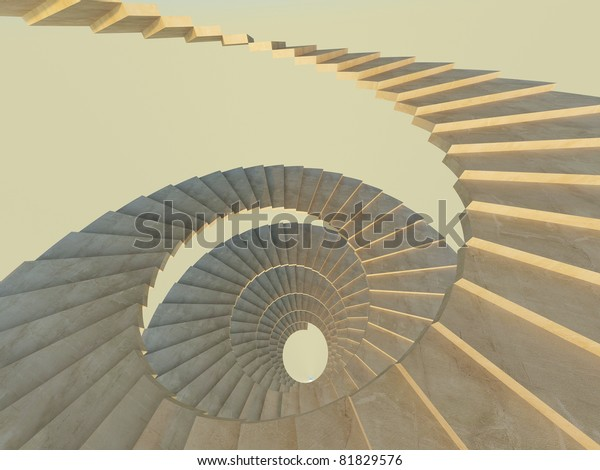Fragment of abstract spiral concrete staircase