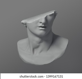 Fragment of colossal head sculpture of classical style in monochromatic grey tones isolated on grey shade background. 3D rendering illustration.