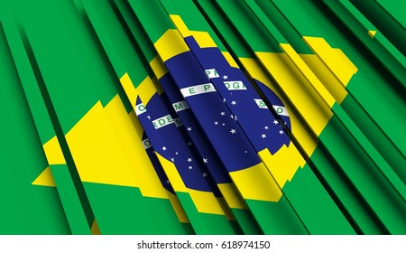 Fragment Flag of Brazil. 3D illustration.