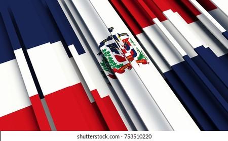 Fragment Flag of Dominican Republic. 3D illustration.