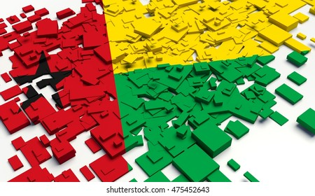 Fragment Flag of Guinea Bissau. 3D illustration.