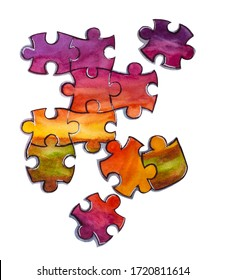 Fragment of an incomplete jigsaw puzzle with sunset illustration. Watercolor illustration of puzzle pieces isolated on white background. Stay home and solution concept, things to do at home.
