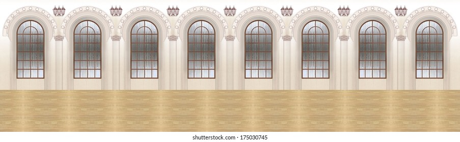 Fragment of the interior. Ballroom or an old theater hall. Vintage. Window, lantern, column, parquet