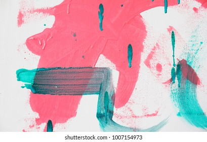 Fragment of original abstract painting, contemporary art. Perfect background for text, poster for art or electronic music show. Aquamarine green and pink brush strokes, paint drops.