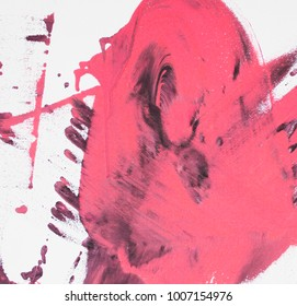 Fragment of original abstract painting, contemporary art. Perfect background for text, poster for art or electronic music show. Pink brush strokes, paint drops.