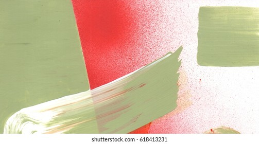 Fragment of original abstract painting, contemporary art. Perfect background for text, poster for art or modern electronic music show.  Bright grass green and saturated red brush strokes, spray.