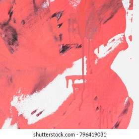 Fragment of original abstract painting, contemporary art. Perfect background for text, poster for art or electronic music show. Red brush strokes, paint drops.