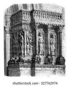 Fragment of the portal of Saint Trophime, Arles, vintage engraved illustration. Magasin Pittoresque 1867.