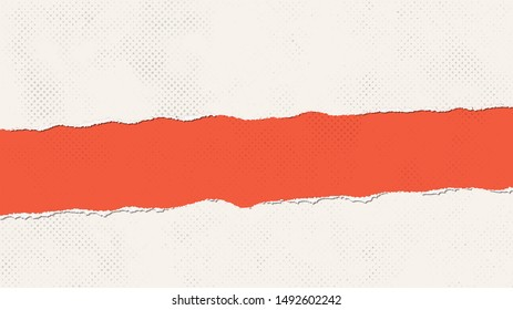 fragmentary gap torn halftone grunge paper texture background. halftone torn gap fragmentary paper in pale biege and red colors. halftone grunge gap torn fragmentary paper in vintage style.