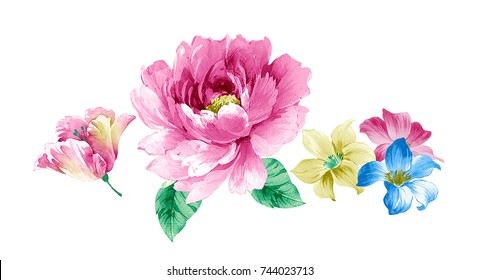 Fragrant flowers blossoming all year round, the leaves and flowers art design
