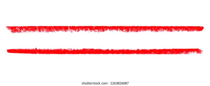 Frame of 2 isolated hand drawn red chalk lines