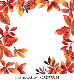 Frame with autumn leaves on a white background. Template for banner, postcard, poster. High resolution watercolor illustration.