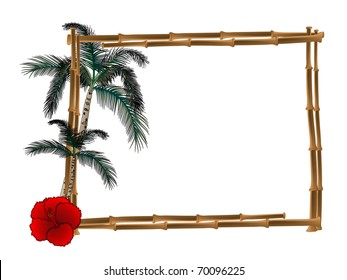 Frame from bamboo with two palm trees