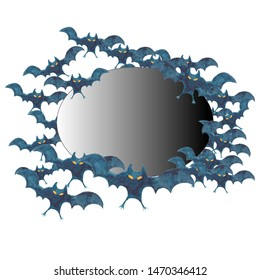 Frame bat silhouettes - Halloween watercolor illustration